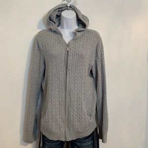 Gray cable knit zip front cardigan. Size xlarge